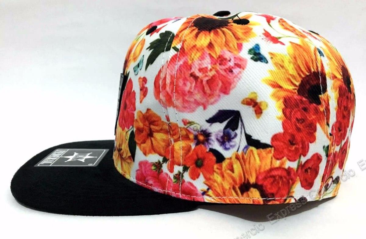 boné original feminino florido floral aba reta autenticado. Carregando zoom. a42e46cfcba51