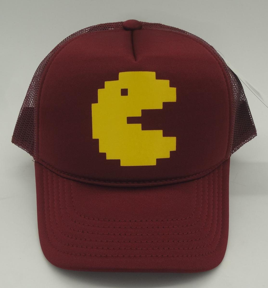 3b115561fa256 Boné Pac Man Tela Vinho Silk Pacman Atari Games Trucker Cap - R  46 ...