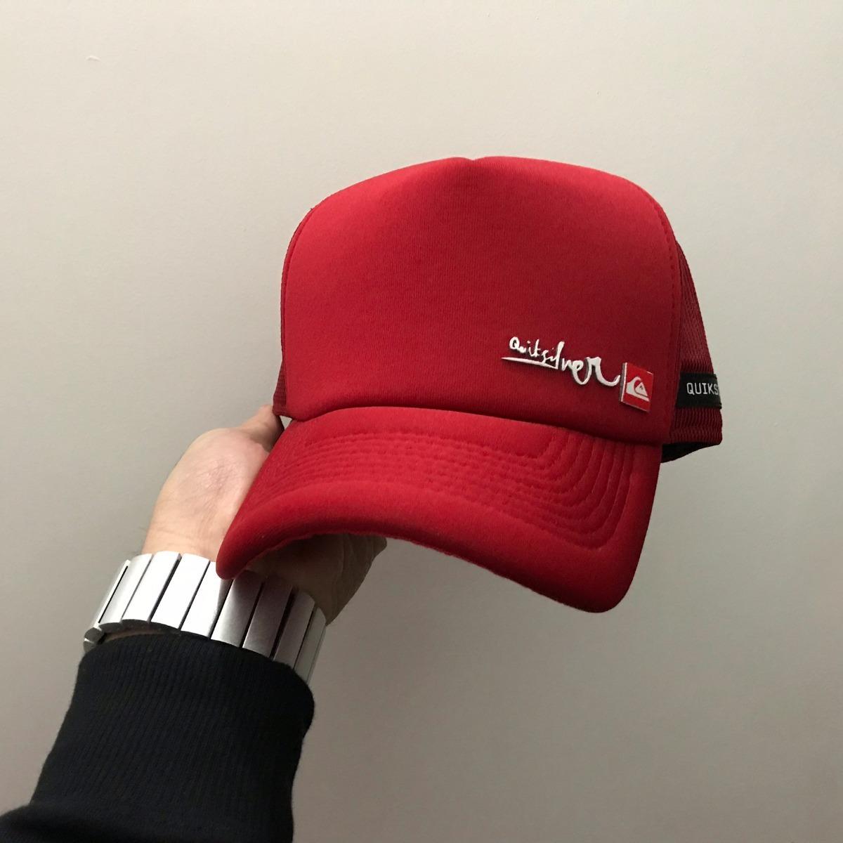 9c9f473a44e08 boné quiksilver hand brand red vermelho aba curva trucker. Carregando zoom.