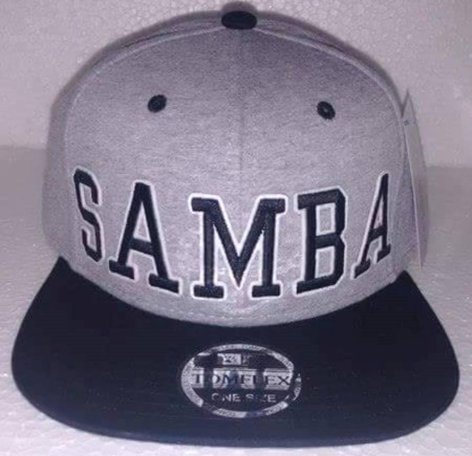 Boné Samba Aba Reta Snapback Cinza preto - R  60 b7c5bf3a67d
