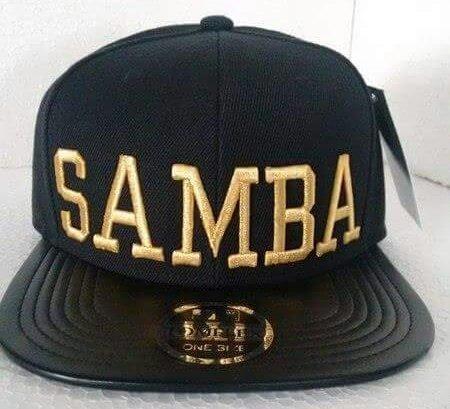 Boné Samba Aba Reta Snapback Preto dourado - R  70 652ae67aab3