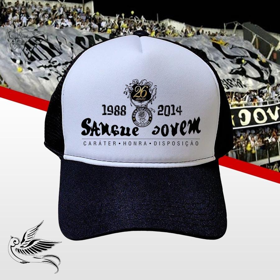 Boné Santos Sangue Jovem Preto Branco Trucker Frete Grátis - R  65 ... 58c3d05dfc067