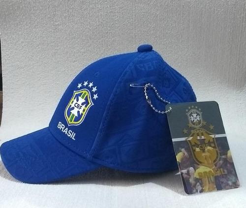 Boné Seleção Brasil Cbf Infantil Futebol Original Azul Fg - R  87 ef0d72ed980