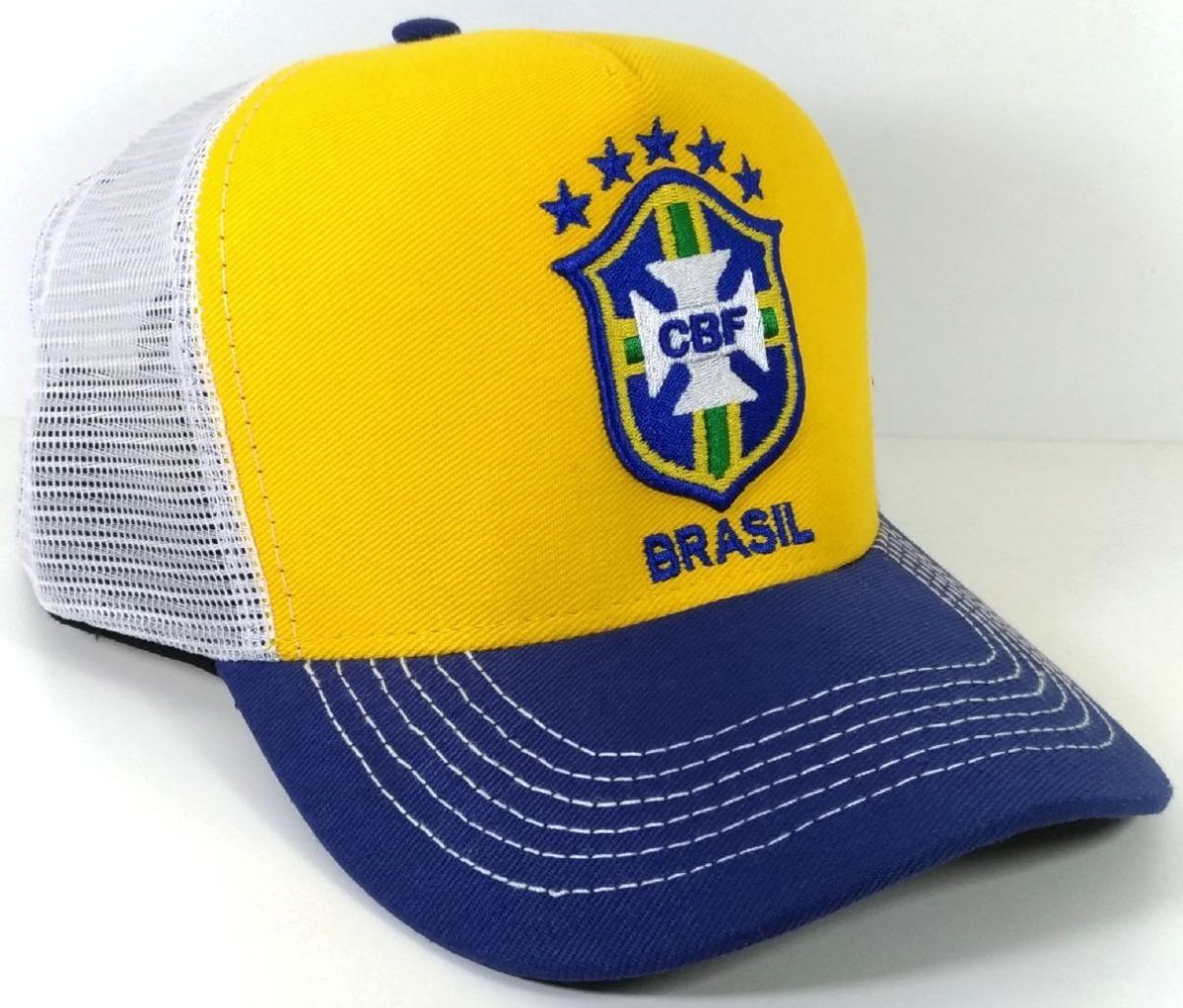 8a575472be19e Boné Seleção Brasileira Tela Trucker Brasil Telinha Barato - R  29 ...