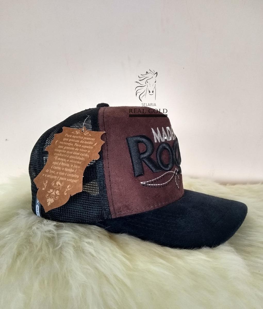 boné sertanejo peão cowboy frase made in roça preto e marrom. Carregando  zoom. 093473a49b6