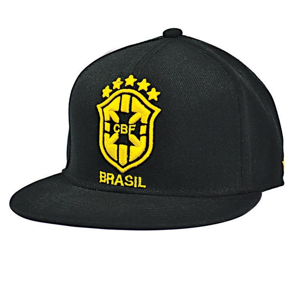 boné snapback cbf seleção brasileira oficial aba reta preto. Carregando  zoom. 15e5901124a