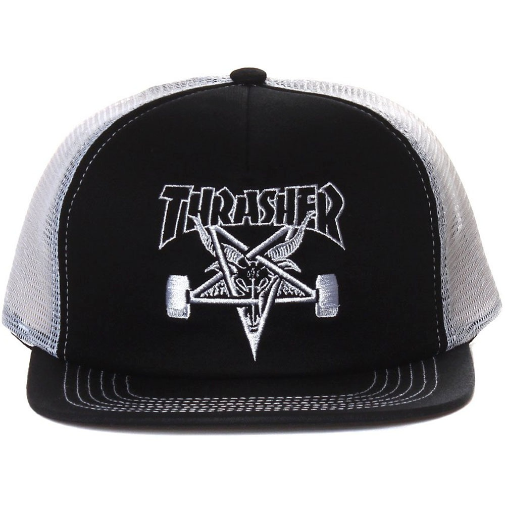 boné thrasher trucker skate goat mesh snapback preto branco. Carregando  zoom. e9c2594e12d