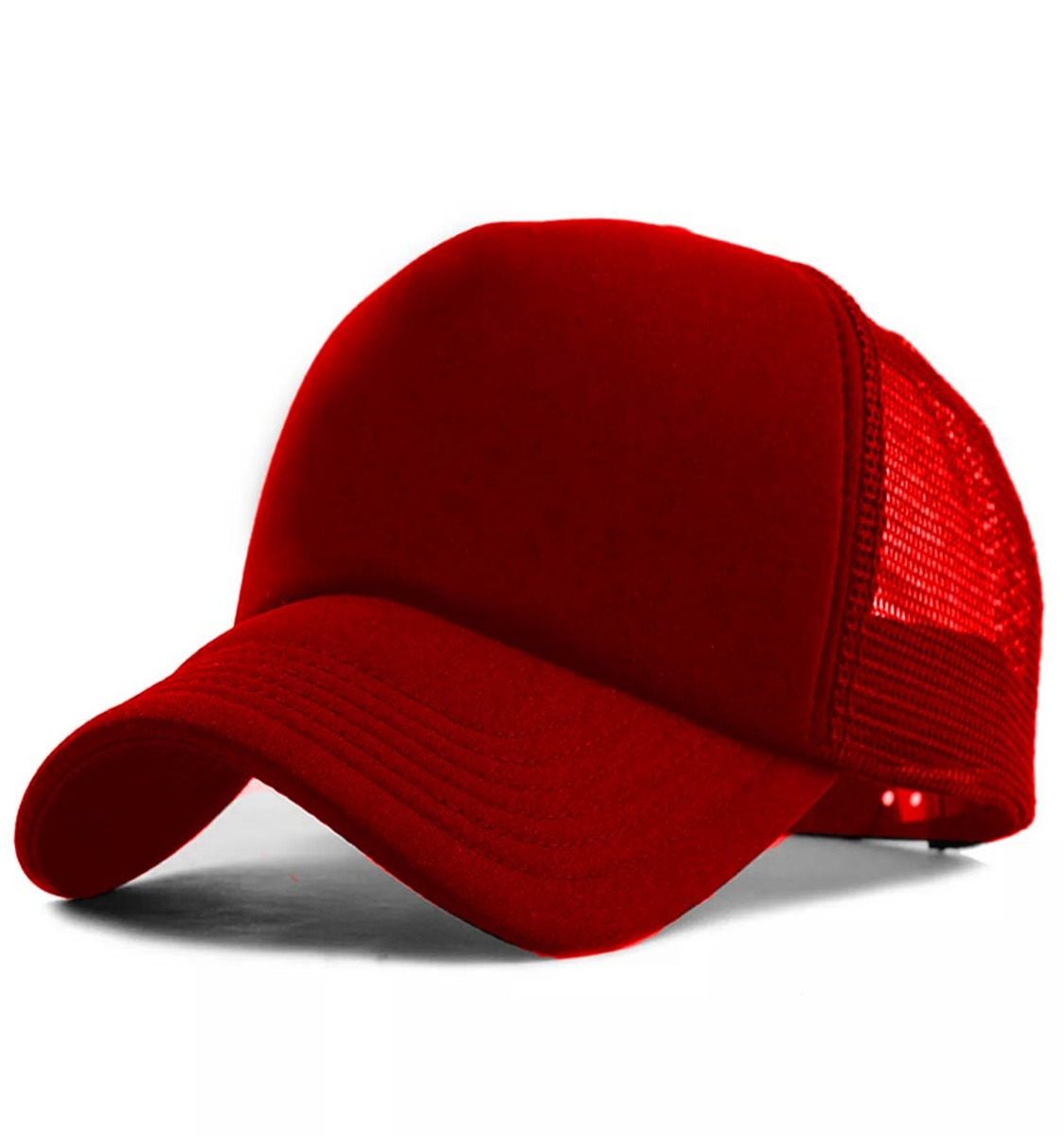 ed8c776c72327 Boné Trucker Aba Curva De Redinha Telinha Vermelho Liso - R  25
