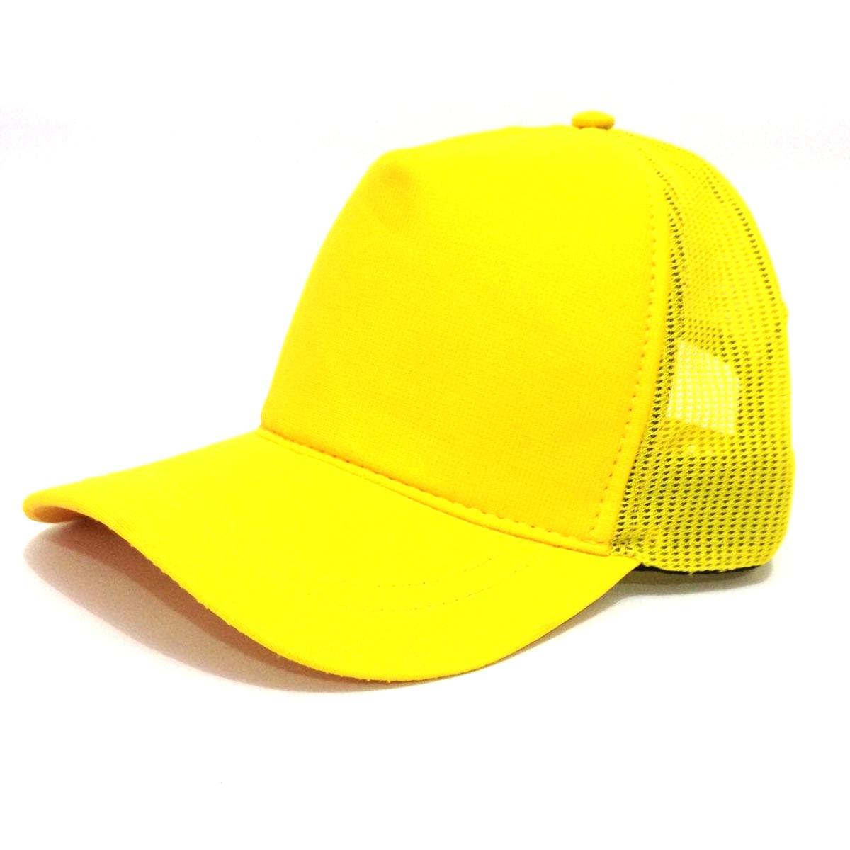 boné trucker amarelo tela liso aba curva. Carregando zoom. ca7f68f68dc