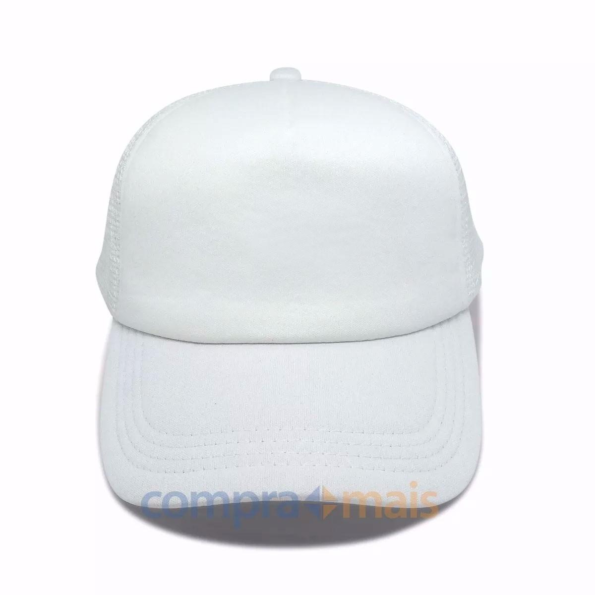 boné trucker branco liso tela aba curva redinha top. Carregando zoom. 5e09f02523e