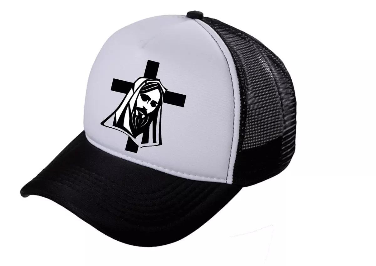 Boné Trucker Cruz Jesus Cristo Telinha Aba Curva Unissex - R  34 7c399f11565