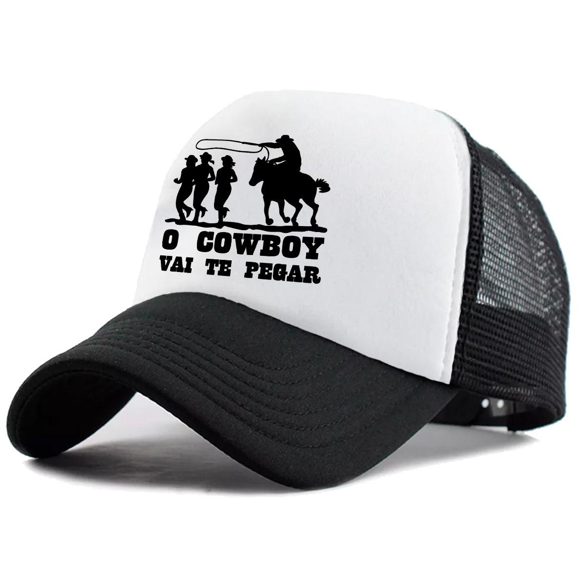 Boné Trucker Frases Peão O Cowboy Vai Te Pegar Rodeio - R  35 34510a9b1ab