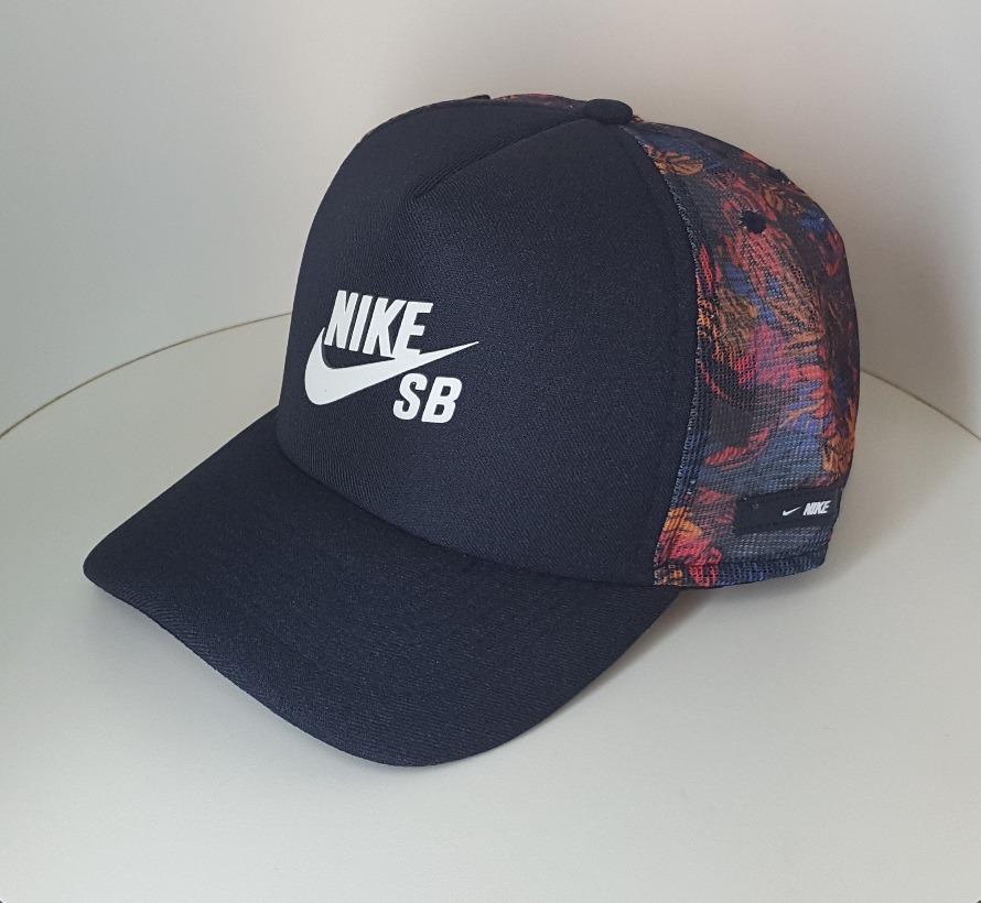 boné trucker nike sb telinha tela esporte floral azul roxo w. Carregando  zoom. e509f947307