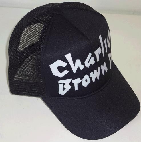 boné trucker preto silk charlie brown jr cbjr aba curva