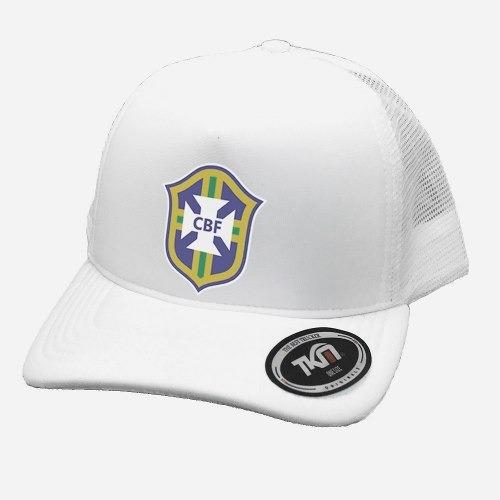 boné trucker promoção brasil seleção brasileira branco cbf