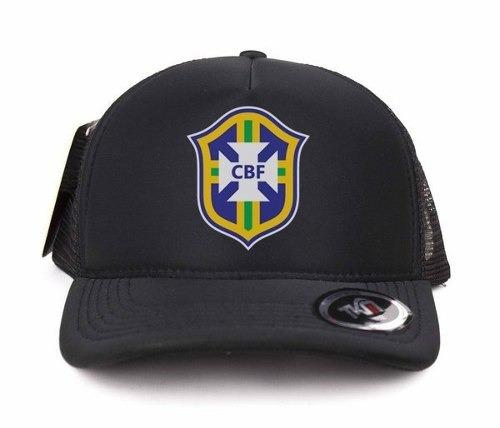 boné trucker promoção brasil seleção brasileira preto cbf