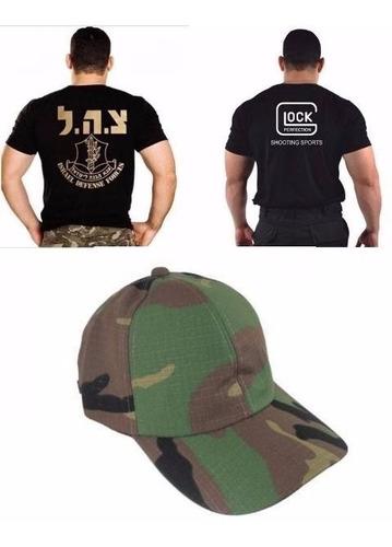 boné woodland + camiseta glock bordada +  camiseta israel