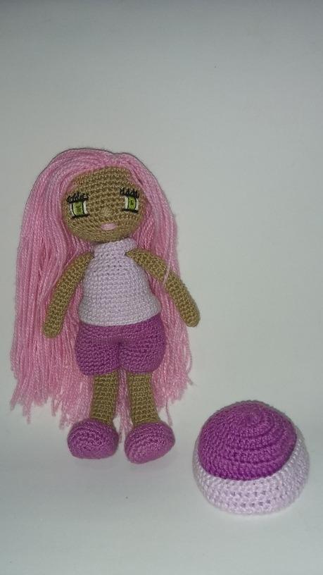 Boneca Amigurumi Rosa Chiclete Cabelo Castanho Claro no Elo7 ... | 816x459