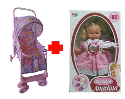 boneca angelina + carrinho de boneca luxo - uliví