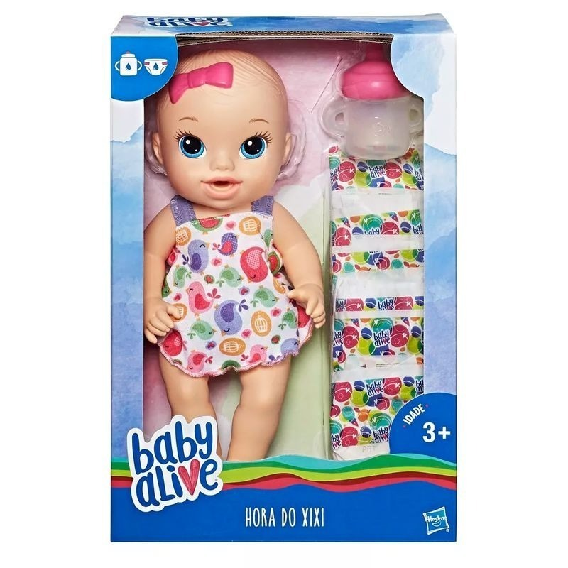8947aac34c Boneca Baby Alive - Hora Do Xixi Com 6 Fraldas - Hasbro - R  85