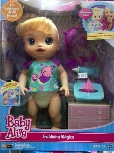 Boneca Baby Alive Fraldinha M 225 Gica Loira Original Hasbro