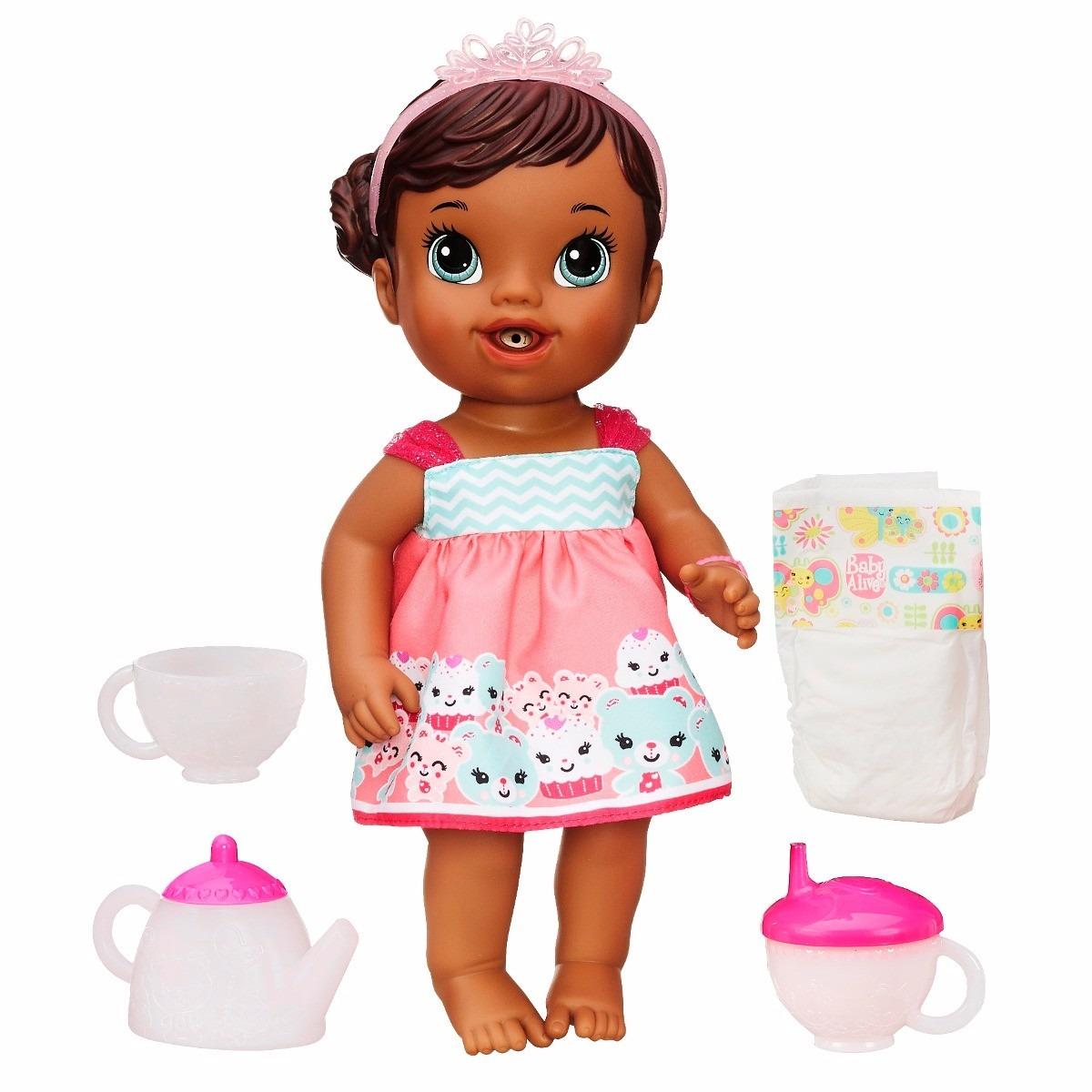 Boneca Baby Alive Negra Hora Do Ch 225 Hasbro Pronta Entrega