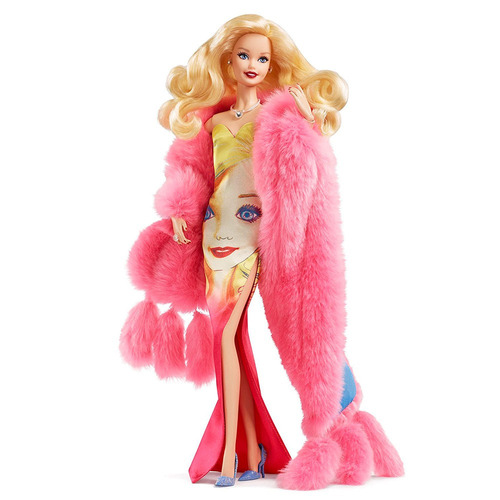 boneca barbie colecionável - andy warhol - vestido estampado