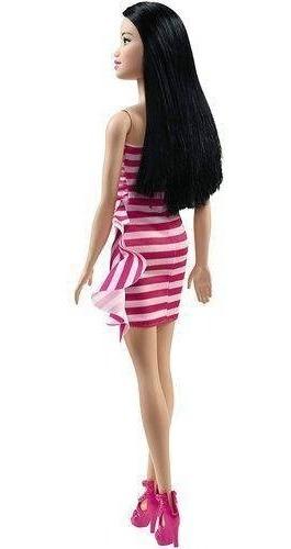 boneca barbie fashion and beauty - vestido listrado rosa