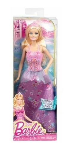 boneca barbie mix & match - princesa rosa