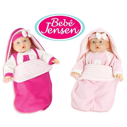 boneca bebê jensen com som menina rosa - roma brinquedos