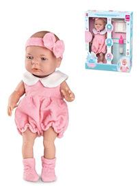 d4c4e62db322f1 Brinquedo Boneca 35 Cm C/ Mamadeira E Acessórios Menina Bebê