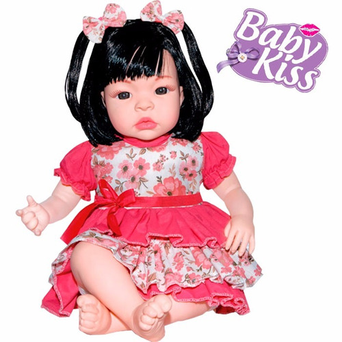 boneca bebê real baby kiss estilo reborn menina sid nyl