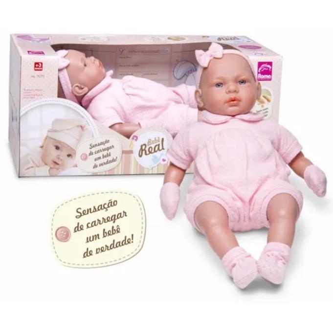 3b0741275 Boneca Bebê Real Com Certidão De Nascimento 5075 - Roma - R  111