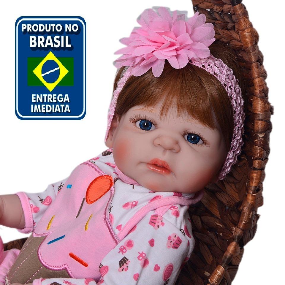 3eeb35bc6 Boneca Bebê Reborn Corpo Silicone Pronta Entrega Rb95 - R  599