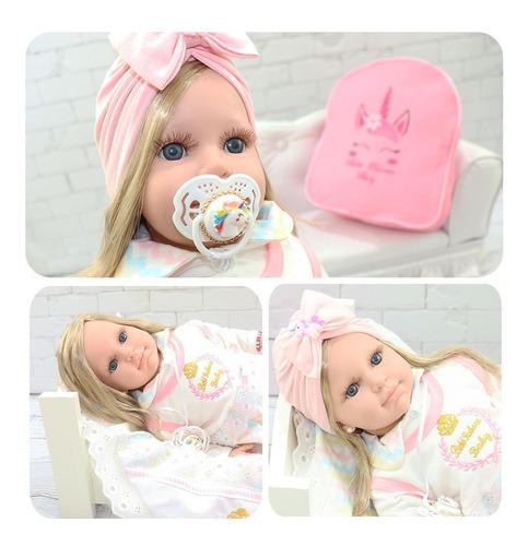 boneca bebê reborn luxo loira rosa com cílios e mochila