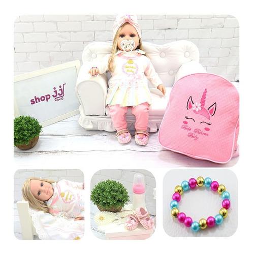 boneca bebê reborn luxo rosa vários itens  e mochila