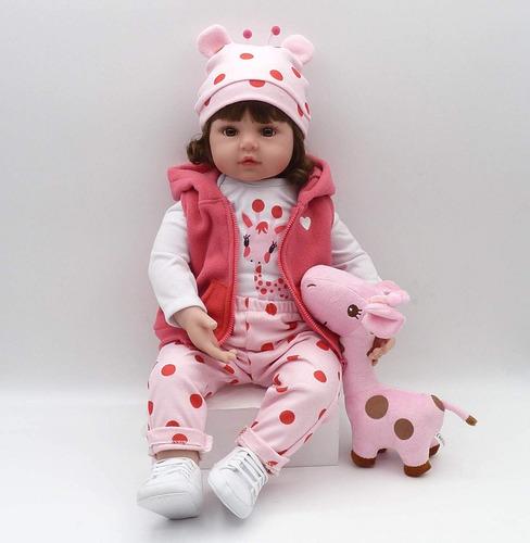 boneca bebê reborn realista de silicone npk 48cm girafinha..