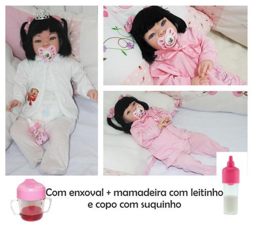 boneca bebe realista tipo reborn larinha com enxoval