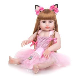 Boneca Bebê Reborn 48cm Ruiva Olhos Castanhos - Silicone