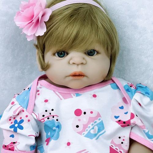 boneca bebe reborn loira saia rodada frete grátis 12x m29