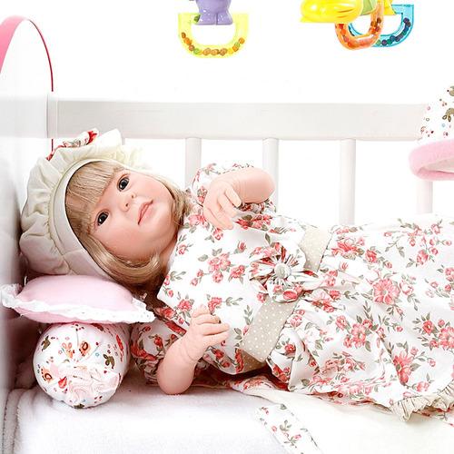 boneca bebe reborn menina diandra encanto floral rosa