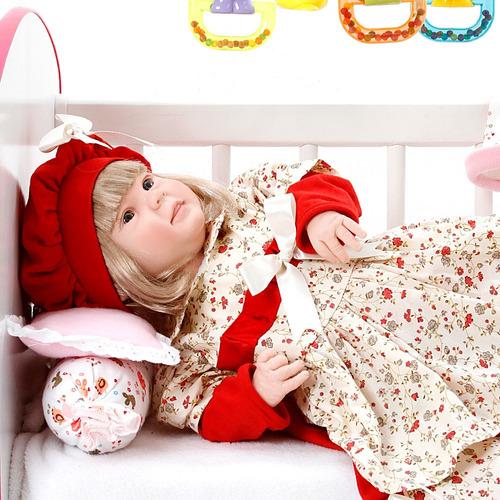 boneca bebe reborn menina diandra maitê vermelho cegonha