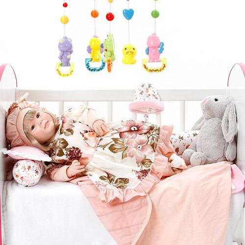 boneca bebe reborn menina diandra naomi rosa floral cegonha