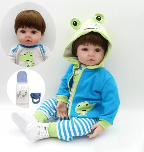 boneca bebe reborn menino grande com 60cm pronta entrega