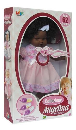 boneca com cabelo angelina negra 62 frases - milk brinquedo