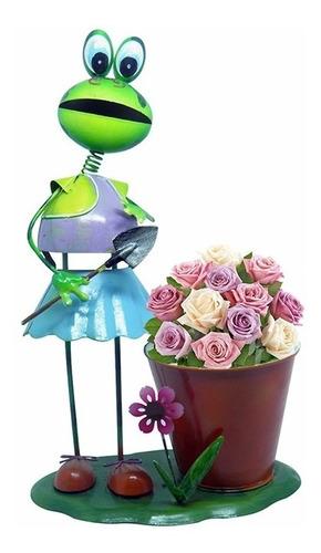 boneca de ferro sapo enfeite flores jardim decoraçao