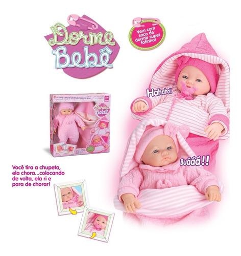 boneca dorme bebê com saco de dormir chora e ri - roma