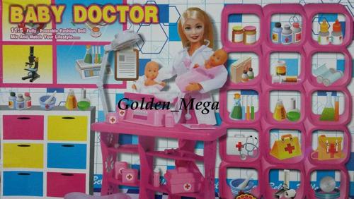 boneca doutora com pacientes- kit de checkup+acessórios