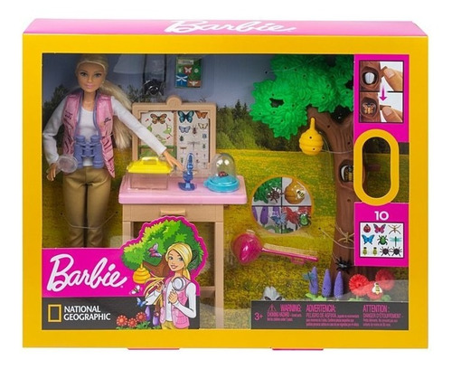 boneca entomologista barbie e playset - mattel gdm49