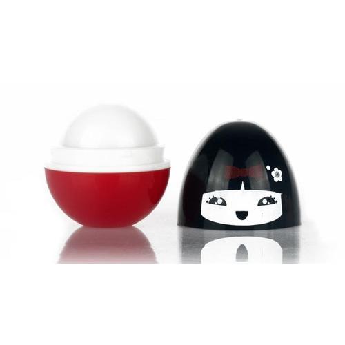 boneca esfera vermelha - lip balm - morango
